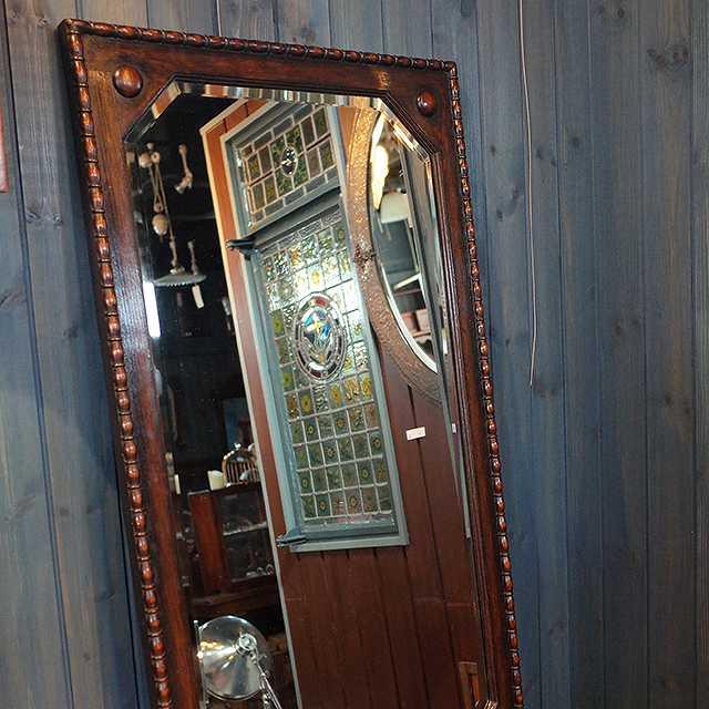 鏡 ミラー オーク 壁掛け 超人気 シンプル イギリス 1930年代 新発売 洗面 リビング インテリア トイレ 玄関 アンティーク