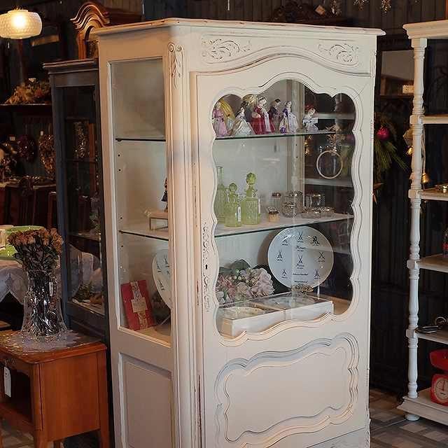 飾り棚 書斎 シャビ―シック オーク 収納棚 アンティーク リビング ガラス フランス 彫刻 キャビネット ディプレイ