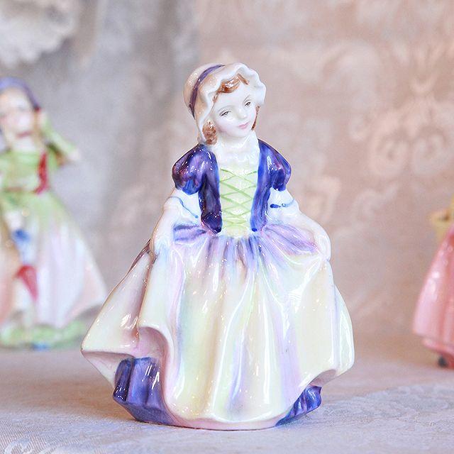 アンティーク イギリス フィギュア ロイヤルドルトン 「Dinky Do」置物 女性 英国王室御用達 陶製