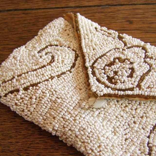 アンティーク ビーズ ポーチ 小物入れ 袋 イギリス 正装 贈り物 敬老の日 母の日 ギフト プレゼント