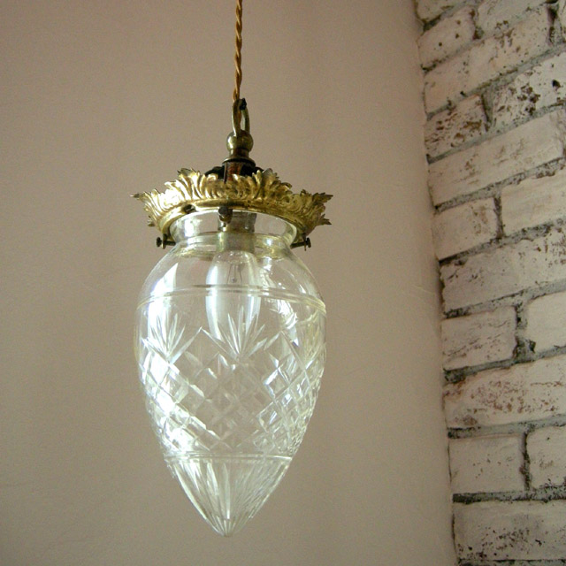 Antique Lamp Shade Cut Glass Drop Shade