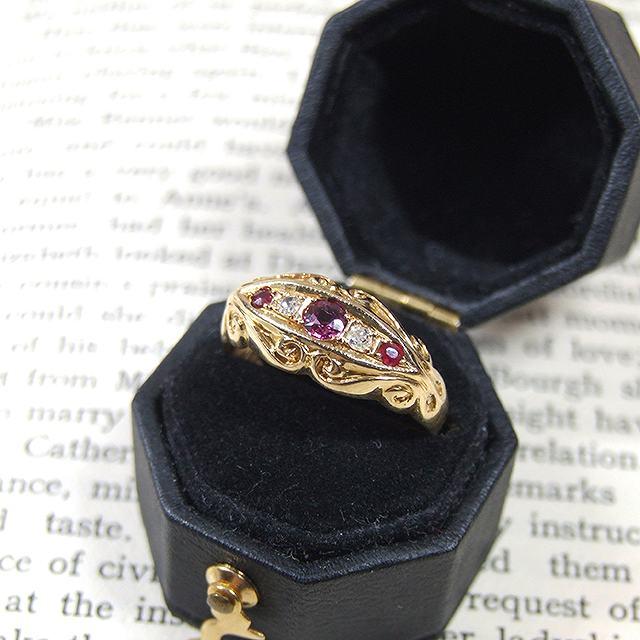 アンティーク リング 指輪 ダイヤモンド ルビー 18金 イギリス ジュエリー アクセサリー 贈り物 母の日 プレゼント クリスマス 誕生日 敬老の日 ホワイトデー