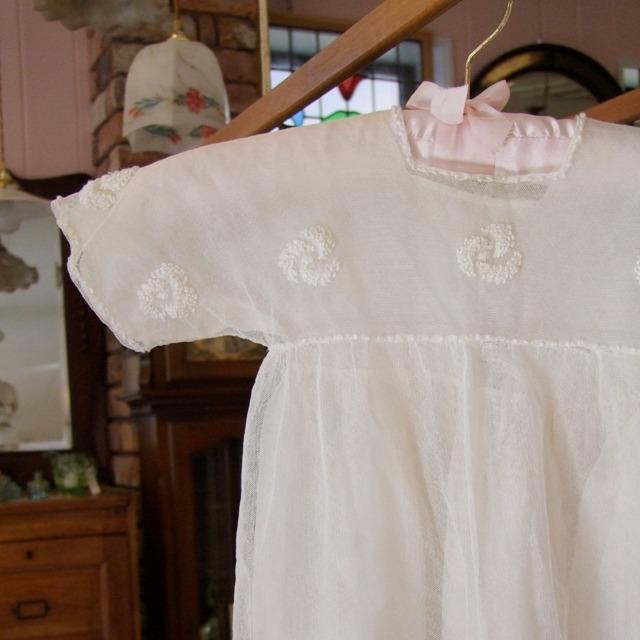 ベビー用品 レース シルク フランス 1920年代 ベビードレス アンティーク 赤ちゃん 新生児 お宮参り