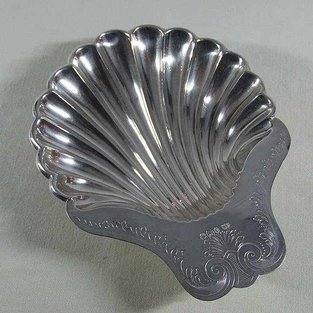 アンティーク バタートレイ 小物入れ シェル型 キッチン 食器 食卓 容器 イギリス シルバー ウェア 母の日 純銀 スターリングシルバー