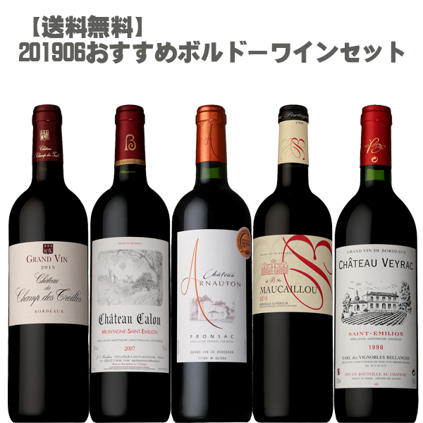 【送料無料】 201906 おすすめ ボルドーワイン 5本セット!【フランス ボルドー 赤ワイン セカンド グラン ヴァン お手頃 】