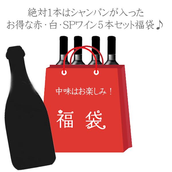 【送料無料】】【 福袋 】絶対1本はシャンパンが入った ワイン5本セット (750ml×5本) 赤 白 スパークリング 数量限定 お買得