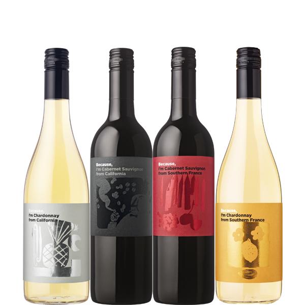 楽しく味わいながらワインの知識を深めていくことができるBecause,シリーズ 【地域別送料無料】ビコーズ フランス カリフォルニア飲み比べ 750ml×4本セットBecause,シリーズお試しセット【フランス カリフォルニア ワインセット 赤ワイン 白ワイン 】