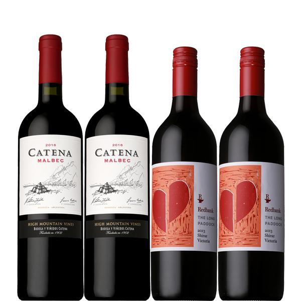 【地域限定 送料無料】意外と冷やして美味しい赤ワインセット 750ml×4本【カテナ マルベック レッドバンク シラーズ ミディアム フルボディ】