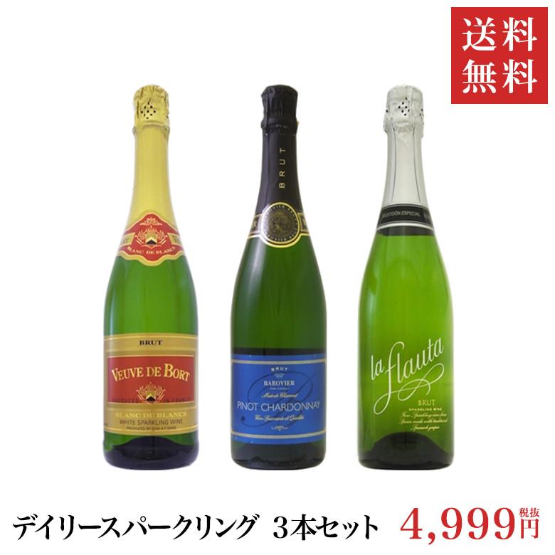 送料無料※北海道・沖縄・一部離島は別途送料が掛かります。1個口/4セットごとに、北海道・沖縄 +1370円、離島 要確認 【送料無料】デイリー スパークリング ワイン (Aセット)750ml 3本セット | ワインセット