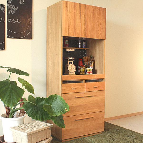 【送料無料】70キッチンボード オシャレでスッキリしたキッチンに。木目が映えるシンプルモダンなナチュラルデザイン前板についた縦のラインがアクセント。【日本製】【完成品】