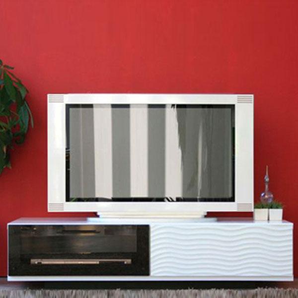 【送料無料】120 テレビボード 白×黒の鮮やかなコントラストが美しいシリーズ 裏面と天板に完備したコード穴でスムーズ配線 日本製 完成品 スタイリッシュ/モダン/モノトーン/白黒