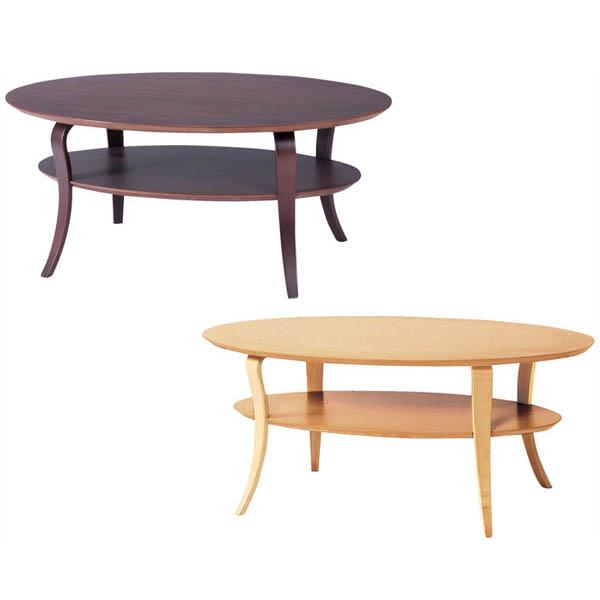 【送料無料】リビングテーブル (NA/BR) 棚付 ローテーブル センターテーブル テーブル 机 レトロ ミッドセンチュリー 北欧 ナチュラル 木製 オーバル 楕円 楕円形 コーヒーテーブル カフェテーブル