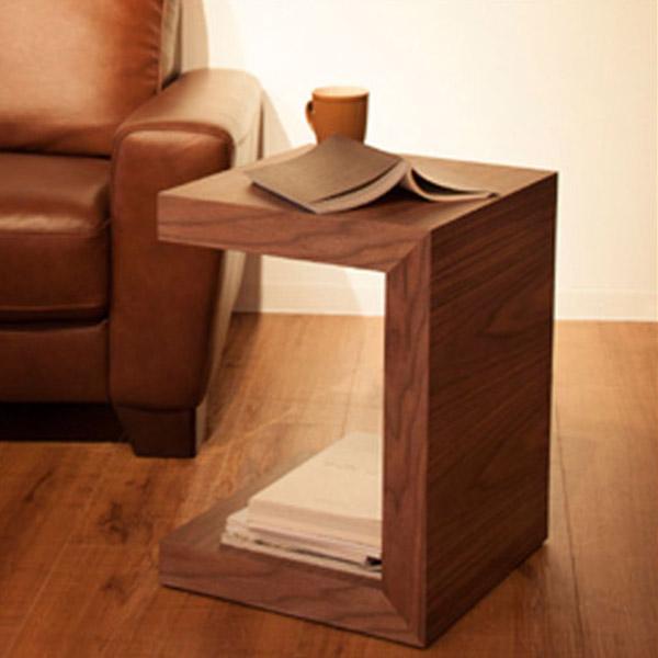 【送料無料】サイドテーブル シンプルながら、モダンでスタイリッシュなコの字型のデザイン性高い、サイドテーブル。