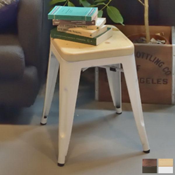 【送料無料】スツール ブラック/ホワイト 腰掛け 補助椅子 腰掛け椅子 椅子 簡易椅子 サイドテーブル 花台 ナイトテーブル 白 黒 モノトーン/シンプル/男前/デザイナーズ風/ブルックリン 幅39cm 奥行き39cm 高さ46cm