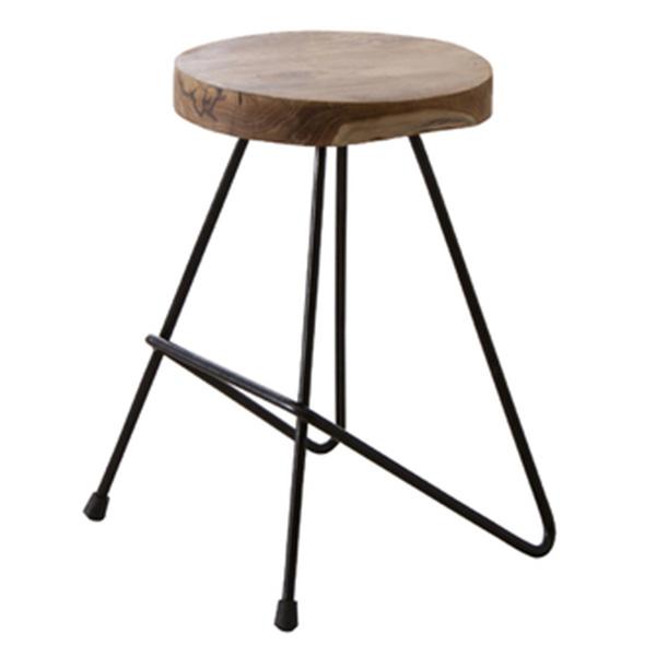 【送料無料】スツール 天然木×アイアンの異素材MIX インテリア サイドテーブル チーク材そのものの形や質感を最大限に活かした唯一無二の逸品