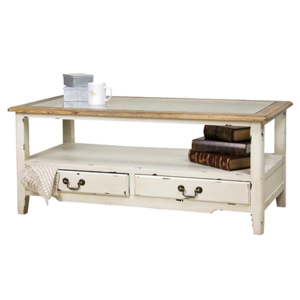【送料無料】コーヒーテーブル リビングテーブル ローテーブル センターテーブル テーブル 机 つくえ テーブル 110cm カントリー フレンチ 家具 木製 アンティーク リビングテーブル 完成品