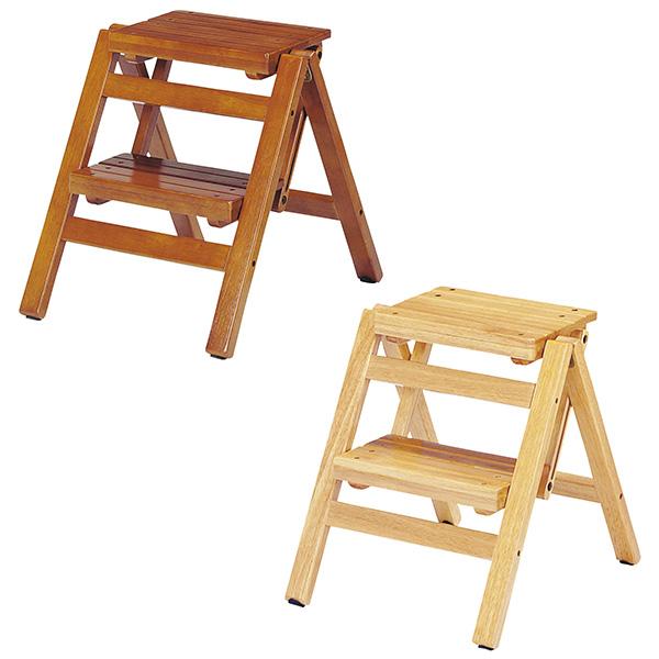 【送料無料】折り畳みステップチェア2段 (BR/NA) 脚立 踏み台 折りたたみ 2段 木製 段差 段 高さ 台 折り畳み おりたたみ 玄関 ステップ ブラウン ナチュラル ひな壇 はしご 収納 階段 DIY おしゃれ