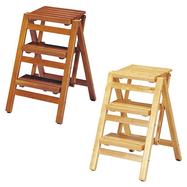 【送料無料】折り畳みステップチェア3段 (BR/NA) 普段使わない時は、折りたたんで隙間などに収納でき、持ち運びも楽にできます。
