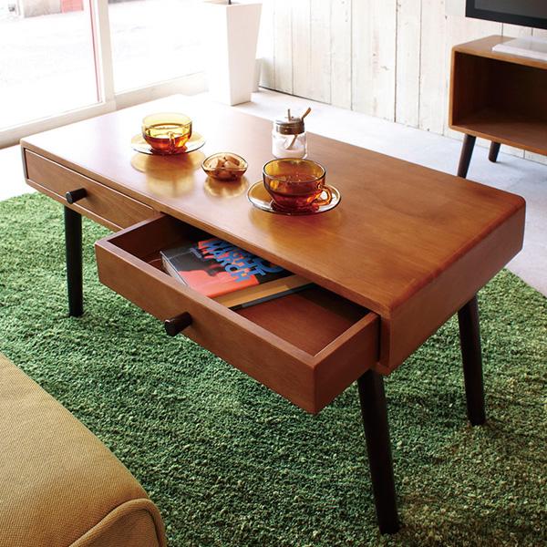 【送料無料】80 テーブル 引き出し付き リビングテーブル コーヒーテーブル 北欧/ナチュラル/カフェ/シンプル/レトロ/ミッドセンチュリー 机 ローテーブル 幅80cm ブラウン 茶色