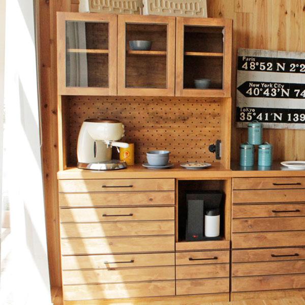 送料無料 105 キッチンボード オープン ダイニングボード 食器棚 スライド棚 家電収納 食器収納 ナチュラル 北欧 カントリー 完成品 日本製 コンセント 幅105cm 奥行き45cm 高さ180cm アルダー材 木製 おしゃれ