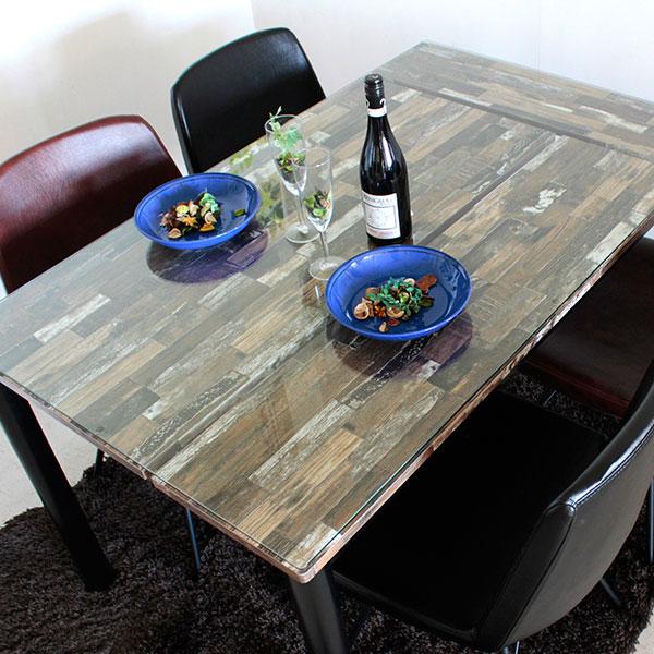 【送料無料】130 ダイニングテーブル 4人用 ガラステーブル 食卓テーブル 古木風の木柄をパッチワークした個性派ダイニングテーブル 130幅 ビンテージやブルックリン、サーフハウス、男前インテリアとも相性ピッタリ 天板