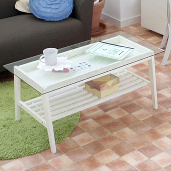 【送料無料】リビングテーブル (BR/WH) ローテーブル ガラステーブル コレクションテーブル テーブル 棚付き ホワイト 白 シンプル/フレンチ/フレンチカントリー/ナチュラル 幅90cm 奥行き45cm 高さ40cm