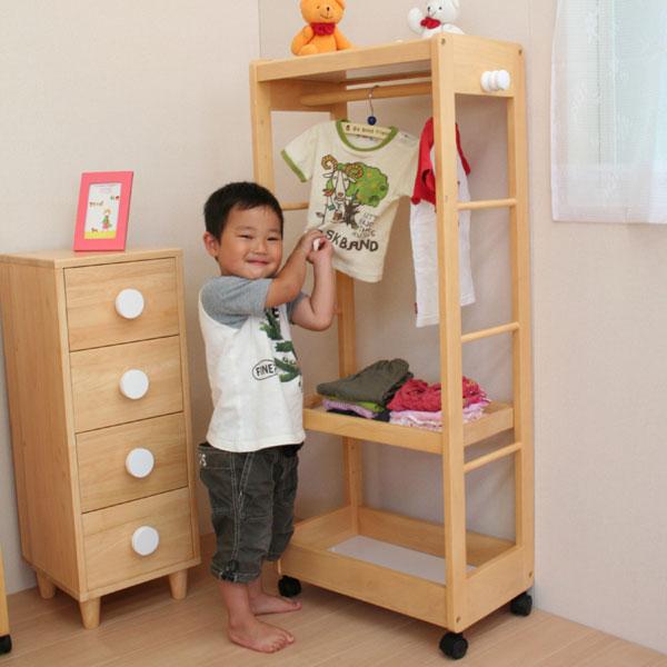 【送料無料】na KIDS(ネイキッズ) ハンガーシェルフ上・中・下に収納棚付きで様々なものを収納