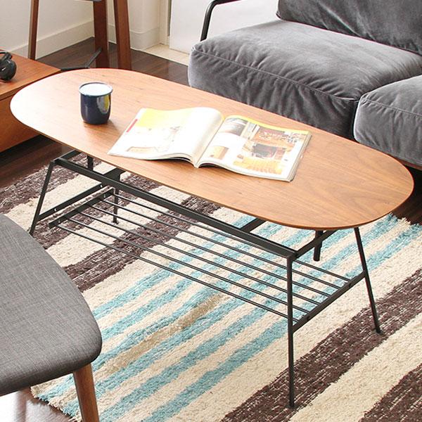 【送料無料】ローテーブル センターテーブル ロー テーブル コーヒーテーブル リビングテーブル つくえ 机 家具 カフェ風 インテリア ミッドセンチュリー シンプル 棚付 ウォールナット リビング 幅90cm 90 レト