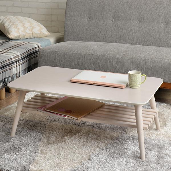 【送料無料】90 リビングテーブル 可愛いナチュラルテイストの折りたたみ式テーブル ローテーブル 机