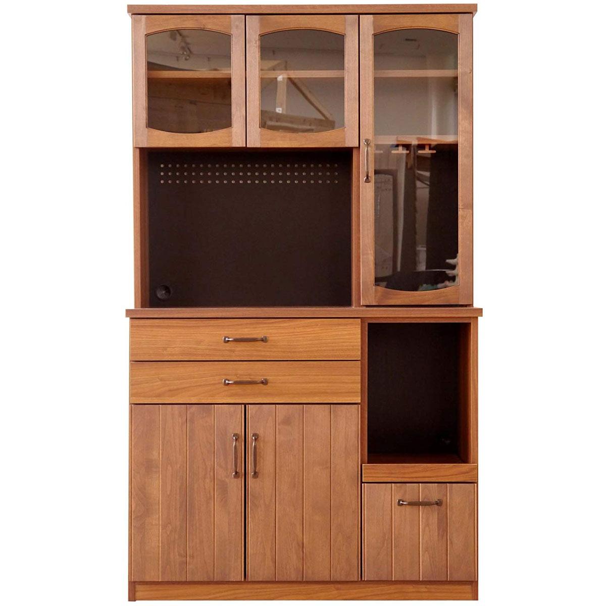 【送料無料】105カップボード 日本製 完成品 食器棚 キッチンボード カップボード シェルフ 幅105 大型
