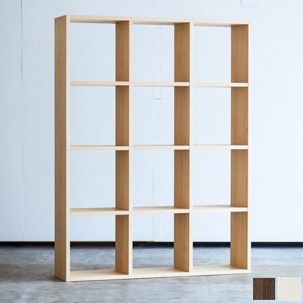 【送料無料】木の風合いを生かした清楚なシンプルなデザインのシェルフ 木製 パーテーション 飾り棚 本棚 ツキ板 オイル仕上げ シンプル 和モダン 木製 模様替え 間仕切り レトロ ヴィンテージ アンティーク 3×4