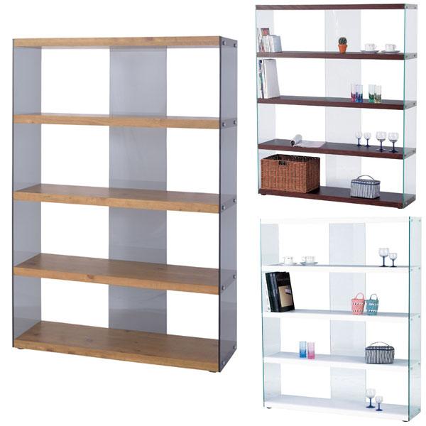 【送料無料】グラスシェルフ ワイドタイプ ブラウン/ホワイト/ナチュラル ガラスのフレームがワンランク上のモダンインテリアを演出 ガラス収納棚 ディスプレイラックや店舗什器、間仕切りとしても◎