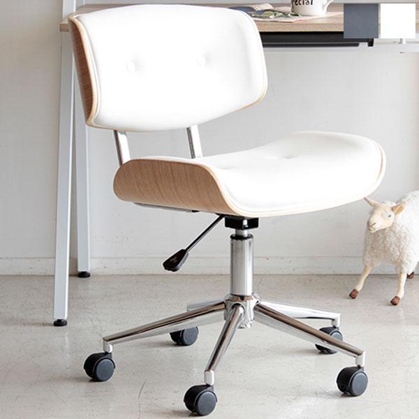 【送料無料】オフィスチェア (BK/WH) 曲木×合成皮革のデザインのチェアー 便利な昇降・360度回転 キャスター付 デスクチェア シンプルで大人シックな椅子 ワークチェア レトロ/北欧/ミッドセンチュリーなお部屋にオ