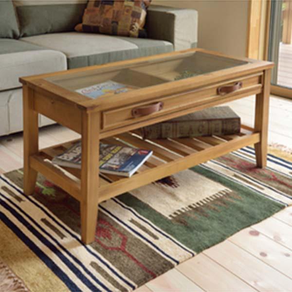 【送料無料】コレクションテーブル ガラステーブル リビングテーブル 天板ガラス使用で引き出しに雑貨や雑誌、リモコンなどの収納に◎ 棚付き シンプル・カントリー・ヴィンテージ・北欧・レトロ・カフェ風