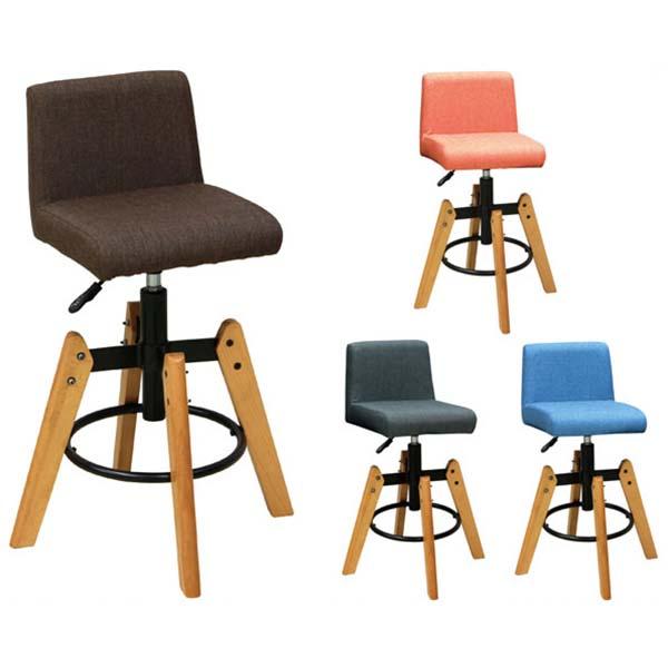 【送料無料】カウンターチェア (GY/BL/OR/BR) バーチェア 座面は65~81cmの16cm高さ調節可能 グレー、ブルー、オレンジ、ブラウンの4色 シンプル/ベーシック/ポップ/カントリー/北欧/カフェ風
