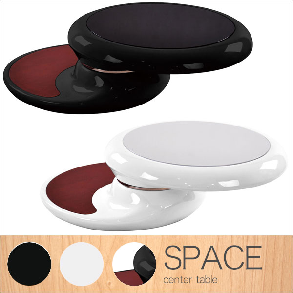 【送料無料】90 センターテーブル (BK/WH) ラウンド テーブル リビングテーブル ローテーブル ブラック ホワイト 白 黒 モダン/デザイナーズ/シンプル/スタイリッシュ/モノトーン/モノクロ/シック/ラグジュア