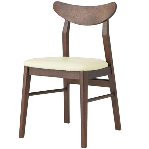 【送料無料】ダイニングチェア デスクチェア 食卓椅子 チェアー レトロ/ミッドセンチュリー/ノスタルジック/シンプル/北欧/ベーシック 幅44cm 奥行き47.5cm 高さ77cm 座面高45cm 木製 合皮 肘なし 完成品 ブラウン アイボリー
