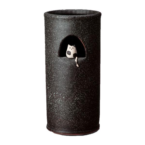 【送料無料】アンブレラスタンド 傘たて 玄関 信楽焼 傘立て 傘立 収納 傘縦 おしゃれ インテリア 陶器 玄関 和風 穴 和 日本製 国産 円形 筒状 可愛い 猫 ネコ ねこ cat シンプル かさ立て カサ立て かさ