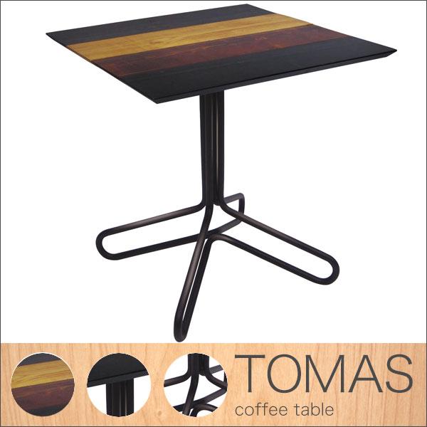 【送料無料】コーヒーテーブル アイアン×古木風がおしゃれなカフェテーブル 60cm ヴィンテージ、男前インテリア、ブルックリン好きにおすすめ 正方形 木目のパッチワーク風デザイン ダイニングテーブルにも◎ 2人用 メンズ