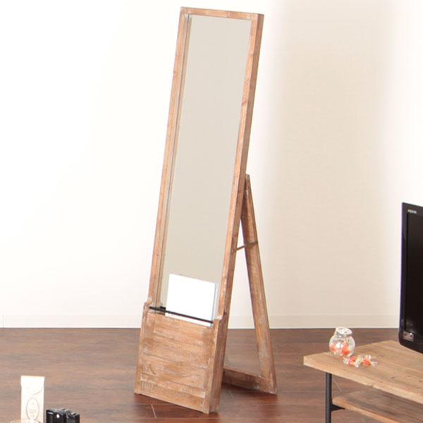 【送料無料】スタンドミラー 姿見 鏡 ラック付 自立式 アンティーク風 ヴィンテージ 杉古材 マガジンラック付き