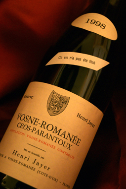 1998 (Henri ジャイエ) 1998 ヴォーヌ ロマネ black parang toe Vosne Romanee 1er Cru Clos Parantoux (Henri Jayer)   Getting out storehouse of the inheritance processing last of 2009!