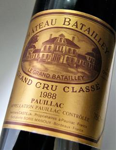 Chateau bathed [1988] Médoc rated No. 5 quality AOC Pauillac Chateau Batailley [1988]