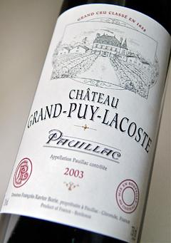AOC Pauillac AOC Pauillac Chateau Grand Puy Lacoste, Château Grand-Puy-Lacoste [2003] MEDOC rating, level 5 [2003]