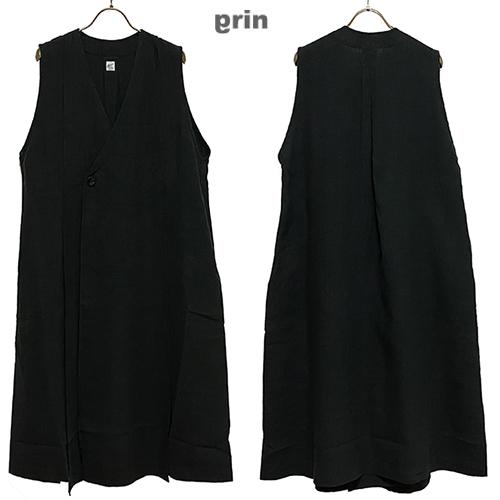grinグリン40リネン ジャンスカベストカラー:990 ブラックサイズ:2