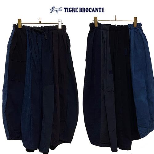 40%OFF SALE【Ladies】セール TIGRE BROCANTEティグルブロカンテ藍の古布バレルロングスカートカラー:Indigoサイズ:F(レディースワンサイズ)