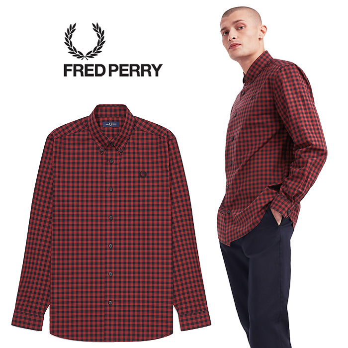 FREDPERRY[フレッドペリー] - 2 Colour Gingham Shirt - ギンガムチェックボタンダウンシャツ※日本国内 送料・代引手数料無料※【日本代理店正規品】