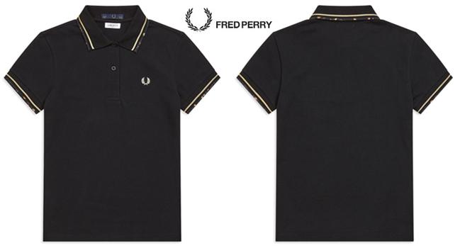 dd28f39821 Original G12 Fred Perry shirt collar of FRED PERRY  LADY  S  Fred Perry   Lady s  Laurel Wreath Liberty Print Tipped Pique Shirt black   champagne   102 BLACK ...