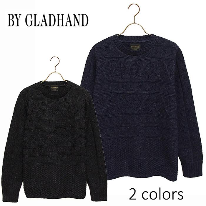 """BY GLADHAND (バイグラッドハンド) - Crew Neck Cable Sweater""""Islands"""" - コットンニットクルーネックケーブル編セーター本品はポイント+1倍です!"""