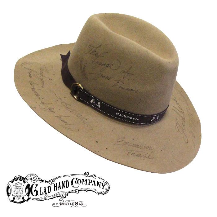 GLADHAND[グラッドハンド]- GLAD HAND & Co. - GASTON -ハンドペイントラビットファーハット(手書きデザイン中折れ帽)本品はポイント+1倍です!