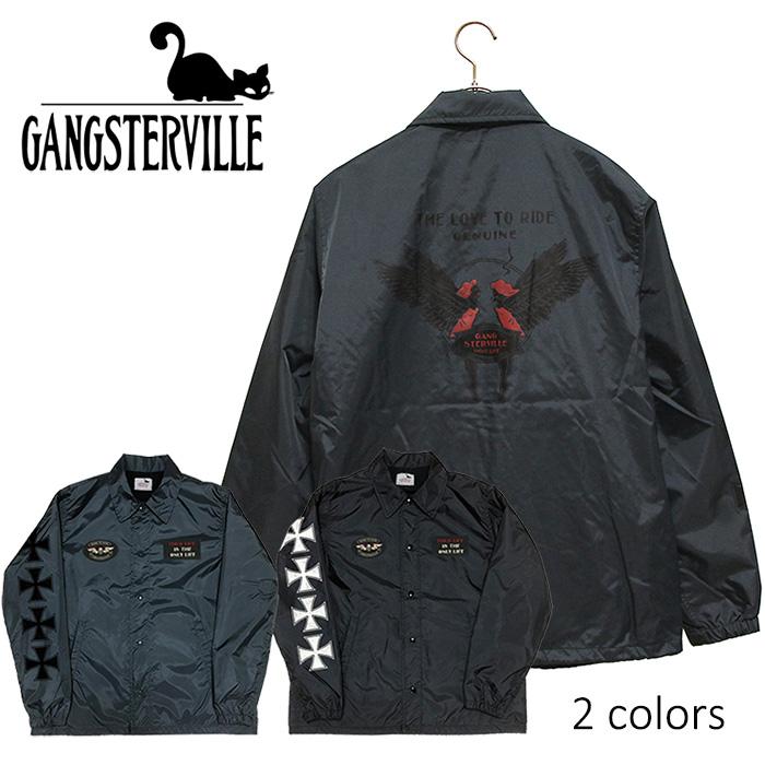 GANGSTERVILLE/ギャングスタービル by GLADHAND - Coaches Jacket - Love to Ride - ヴィンテージラバープリントコーチジャケット(オリジナルワッペン付)本品はポイント+1倍です!